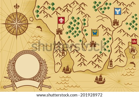 old map (ancient map, antique map) - stock vector