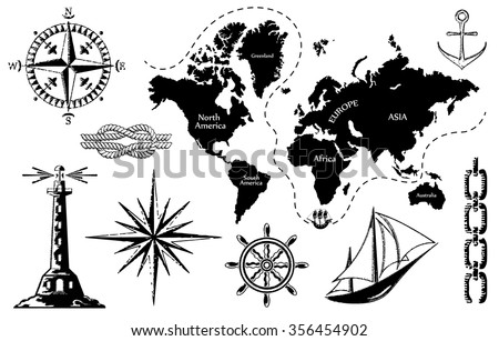 Old map set sea icons contours stock vector 356454902 shutterstock old map and a set of sea icons the contours of the map are not gumiabroncs Choice Image