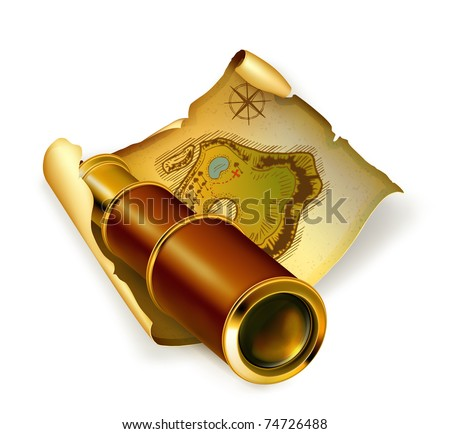 Old map and spyglass, 10eps - stock vector