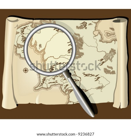 Old map with magnifier - stock vector