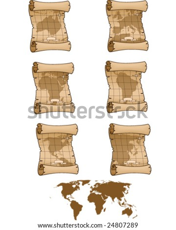 Old Maps - vector illustrations - stock vector