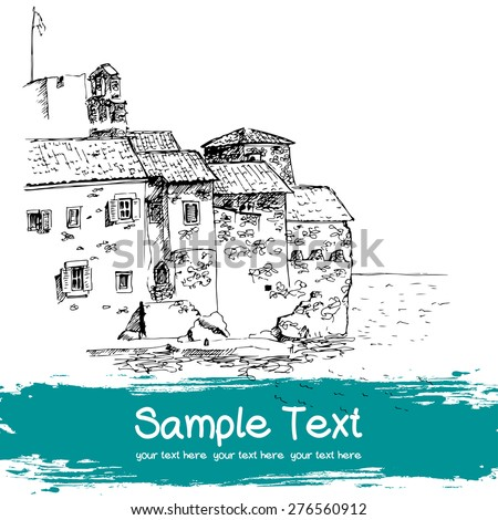 Old Mediterranean fortress drawn in sketch style and isolated on white background. Travel sketchbook page with freehand sketch of the sea and old town in Budva, Montenegro. - stock vector