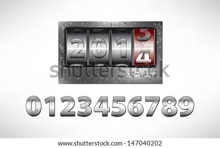 Old metal mechanical counter with year 2014 - stock vector