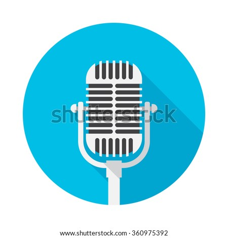 Old microphone icon with long shadow. Flat design style. Round icon. Web and mobile design element. - stock vector