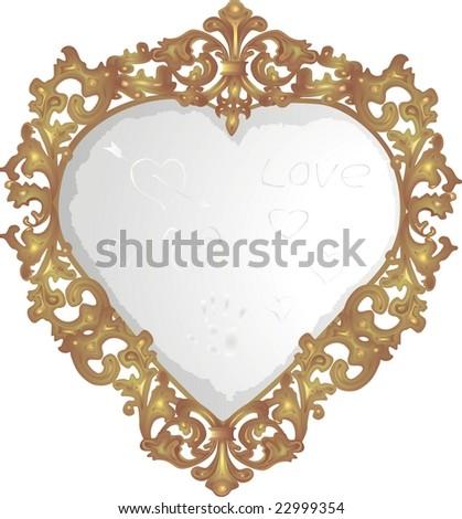 Old  mirror. Valentine card - stock vector