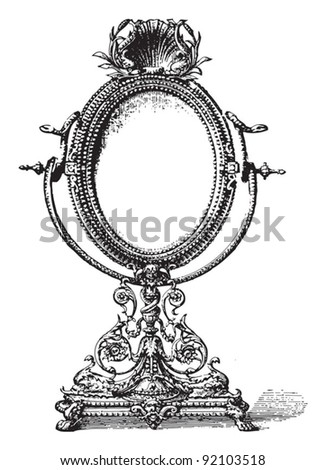 Old mirror / vintage illustration from Meyers Konversations-Lexikon 1897 - stock vector