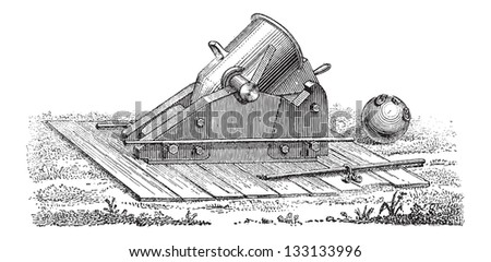 Old Mortar, vintage engraved illustration. Dictionary of Words and Things - Larive and Fleury - 1895 - stock vector