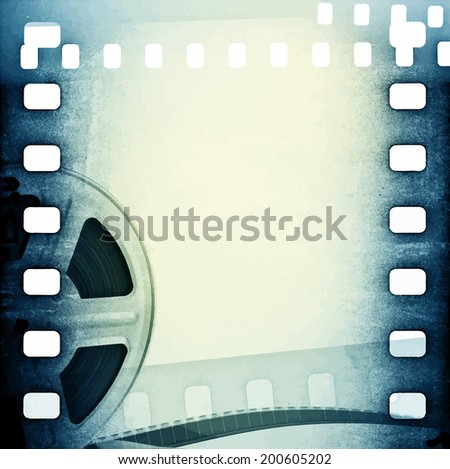 Old motion picture film reel with film strip. Vintage vector background - stock vector