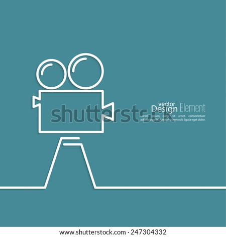 Old movie camera with reel on a blue background. Symbol of the film industry, cinema, photography. minimal. Outline. - stock vector