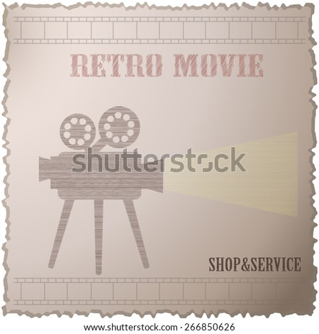 Old movie camera with reel. Symbol of the film industry, cinema, photography. - stock vector