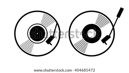 Old music long play record - flat symbol. Vinyl turn table icon app. Black gramophone web sign - simple silhouette graphic design. vector art image illustration, isolated on white background eps10 - stock vector