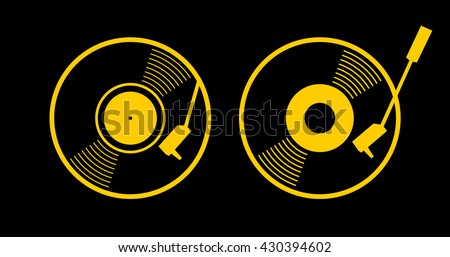 Old music long play record - flat symbol. Vinyl turn table icon app. Yellow gramophone web sign - simple silhouette graphic design. vector art image illustration, isolated on black background eps10 - stock vector