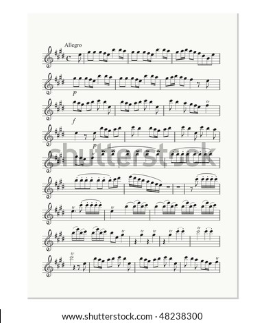 old music note sheet - stock vector