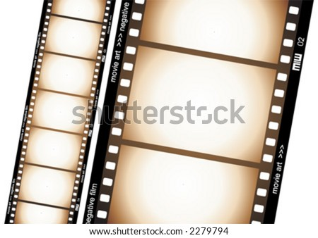 Old negative film strip - stock vector