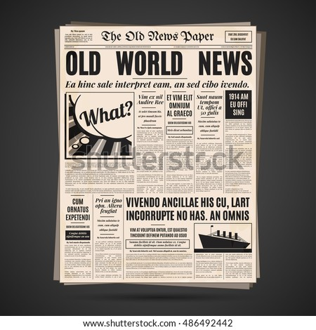 Old Newspaper Vintage Design Retro Background Stock Vector