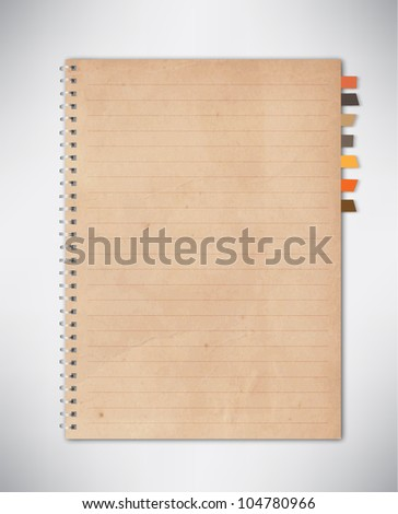 Old Notebook Paper Vector - stock vector