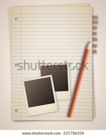 Old notebook paper with photo frame pencil  - stock vector