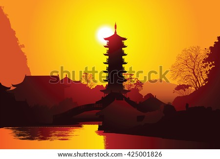 Old pagoda on the water, Guilin, China - stock vector