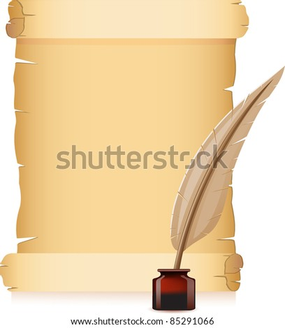 old paper and feather with inks vector illustration - stock vector