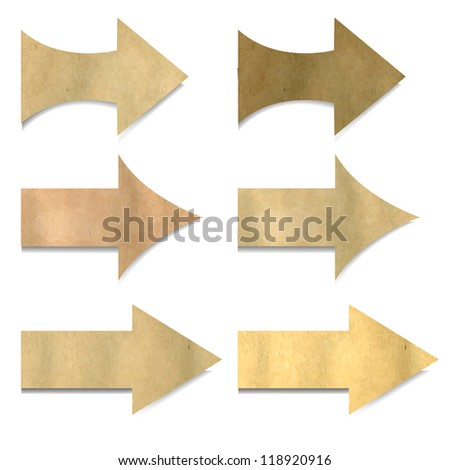 Old Paper Arrows Set With Gradient Mesh, Vector Illustration