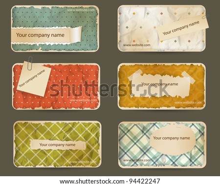 Old paper business card set - stock vector