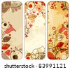 Old paper floral banners set - stock vector