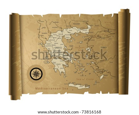 Old paper Greece map, vector illustration - stock vector