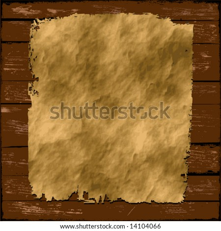 Old Paper on Wood - stock vector