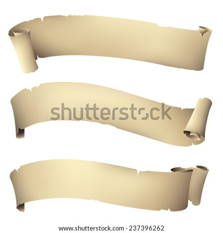 Old paper rolled banner - stock vector