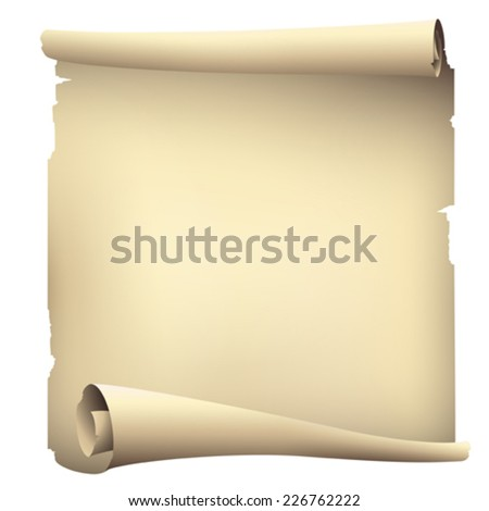 old paper scroll banner ,vector drawing - stock vector