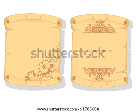 old paper scroll with floral elements - stock vector