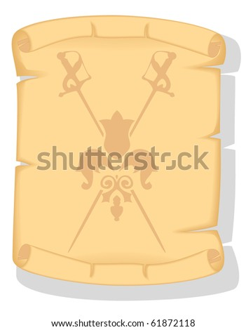 old paper scroll with the image of crossed swords - stock vector