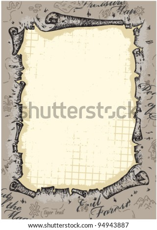 old paper sheet under ragged map - stock vector