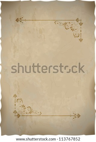 Old paper sheet  with vintage frame. Vector EPS 10 illustration.  Image contains transparency and various blending modes. - stock vector