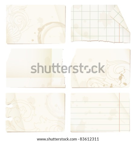 Old paper sheets - checked, lined, stained, decorated with ornaments - isolated on white background - stock vector