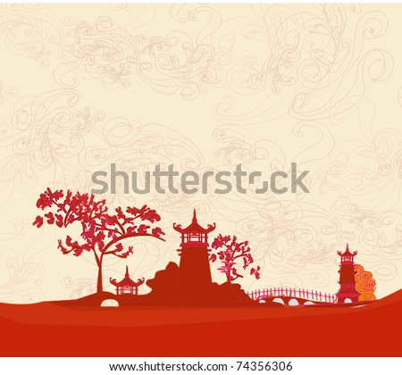 old paper with Asian Landscape - stock vector
