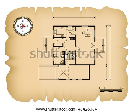 Old paper black house blueprint stock photo photo vector old paper with black house blueprint malvernweather Image collections