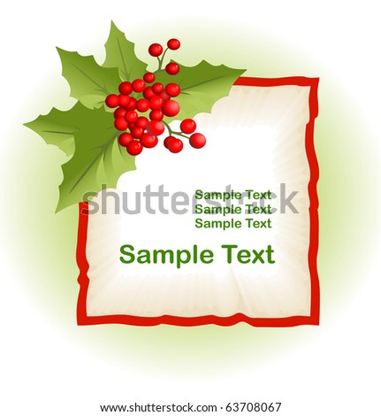 Old paper with christmas holly berry - stock vector
