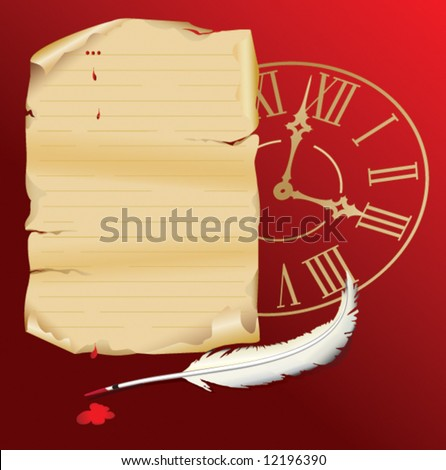 Old paper with clock