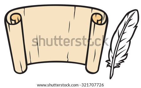 old paper with feather (roll of old paper and feather, scroll and feather) - stock vector