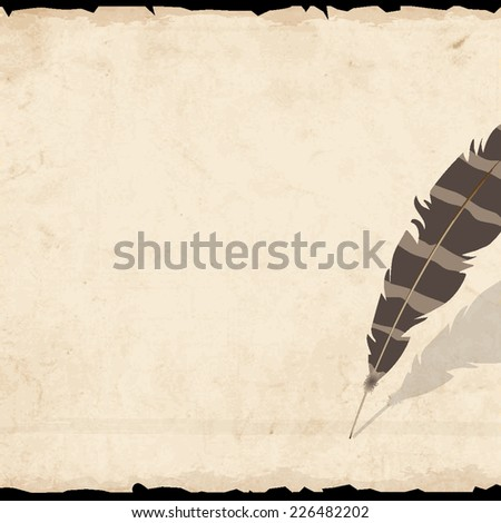 Old paper with  feather. Vector EPS10 - stock vector