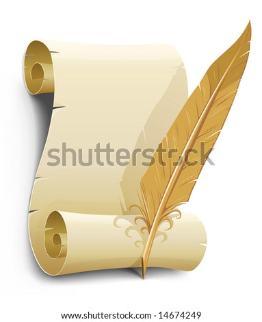 old paper with feather vector illustration illustration isolated on white background - stock vector