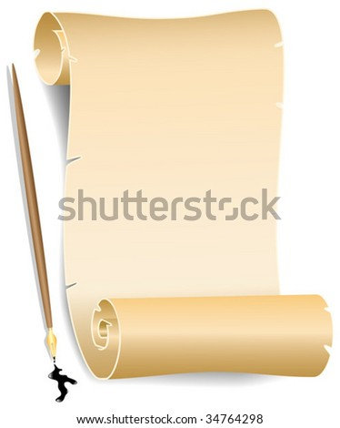 Old paper with ink pen - stock vector