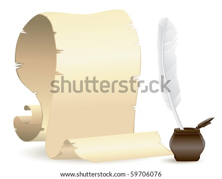 old paper with quill & ink - stock vector
