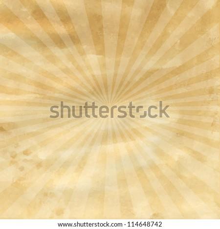 Old Paper With Retro Sunburst, Vector Illustration - stock vector