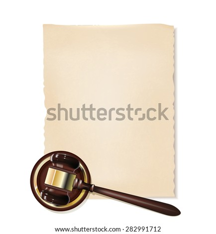 old papyrus and gavel as justice background - stock vector