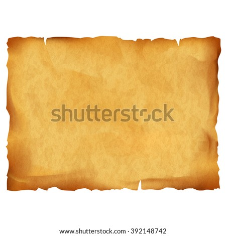 Old parchment isolated on white background. Stock vector illustration. - stock vector