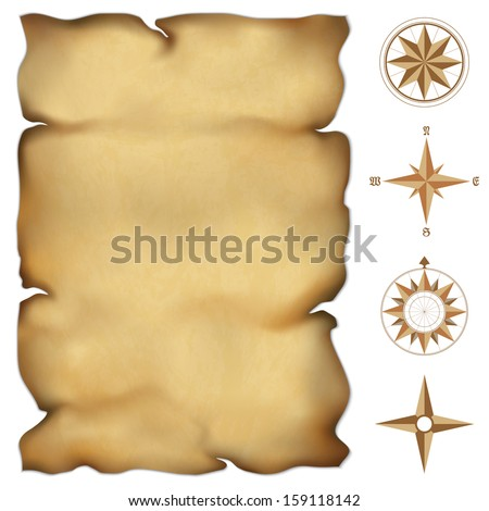 Old parchment map with wind rose compass. Highly detailed vector. Illustration contains gradient mesh - stock vector