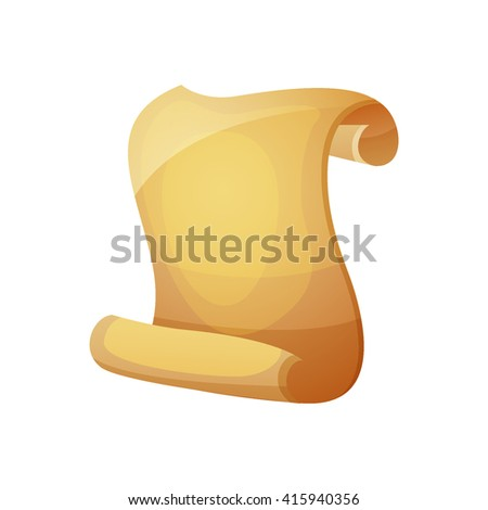 Old Parchment Scroll.Cartoon scroll parchment. Vector illustration - stock vector