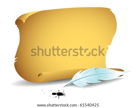 Old parchment with white feather.Horizontal version. - stock vector